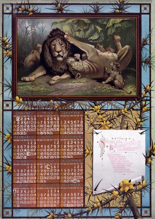 Calendar 1883 Vintage Lions