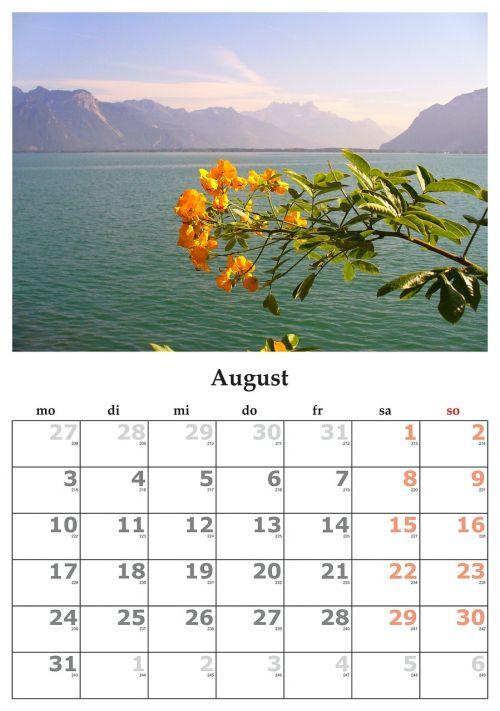 calendar month august