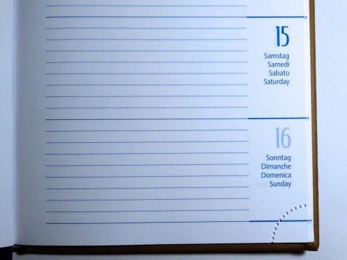 calendar days day of the week