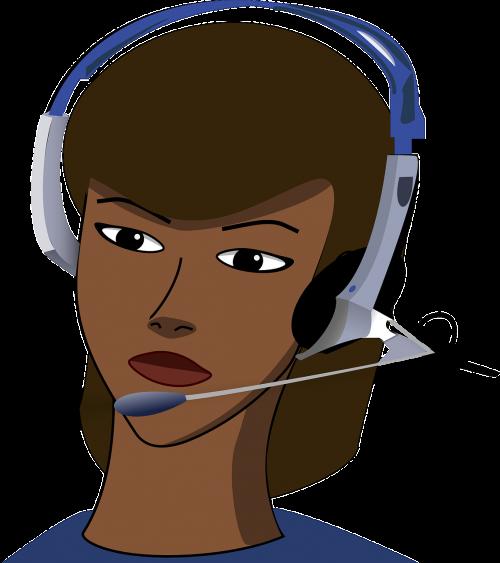call-center girl headset