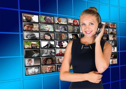 call center headset woman