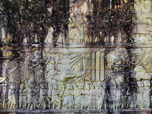 Kambodža,Angkor,šventykla,bayon,bareljefas,sugadinti,angkor tomas