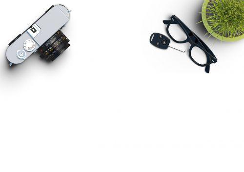 camera desk plant
