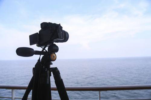 camera tripod sea front