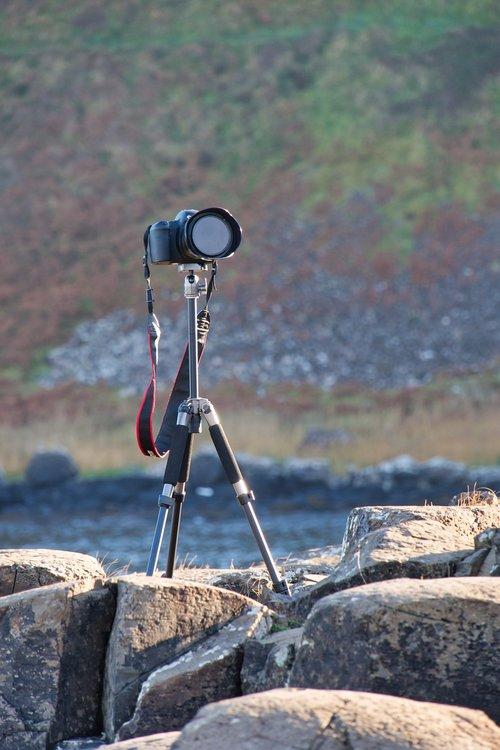 camera  rock  tripod