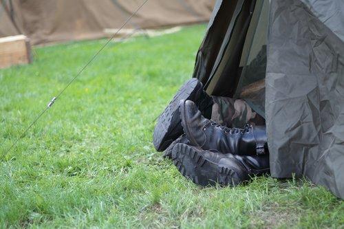 camp  tent  combat boots
