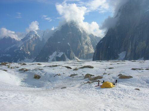 camping mountain snow