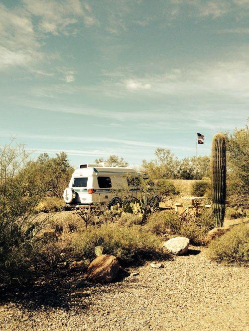 camping arizona desert camper van