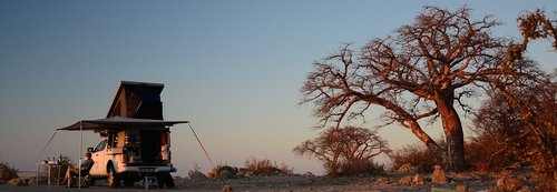 camping  sunset  botswana saltpan