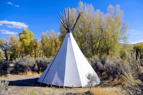 camping tipi at bannack  campground  tent