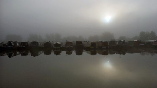 canal boat  canal boats  foggy