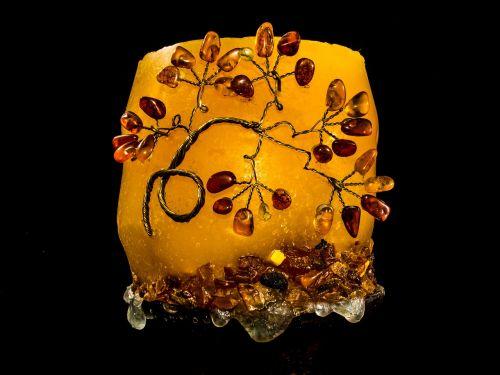candle decoration semi precious stones