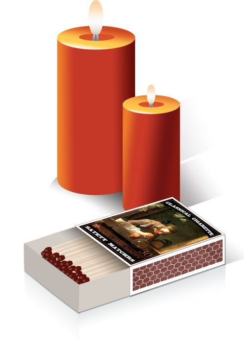 candle matchbox three-dimensional image