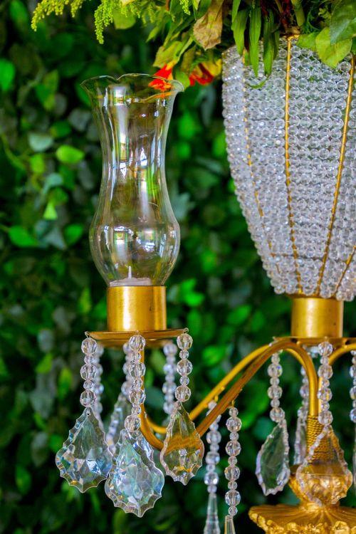 candle holder glass garnish
