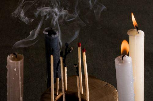 candles matches smoke