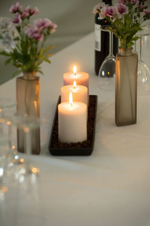 candles dinner table
