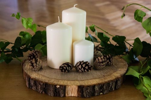 candles wood nature