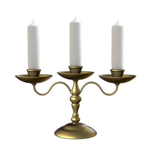 candlestick for three candles  transparent background  golden candlestick