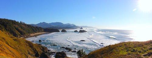 cannon beach  pacific ocean  ecola