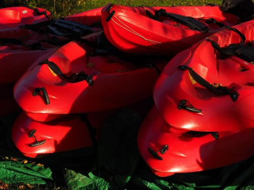 canoes boats red