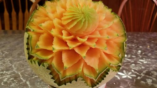 cantaloupe carving fruit carving decoration