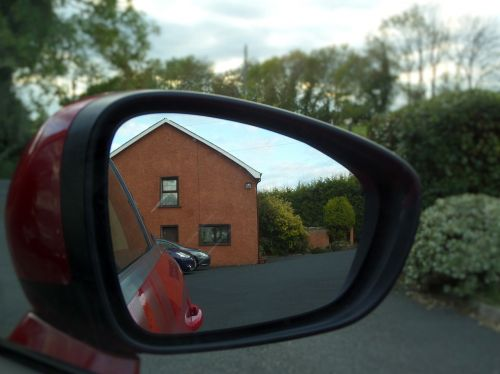 car rearview mirror reflection
