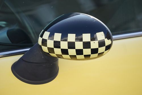 car rear view mirror checkerboard