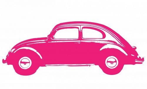 car vintage pink
