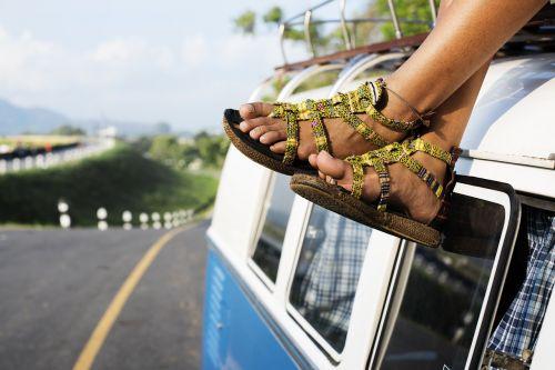 car feet outdoors