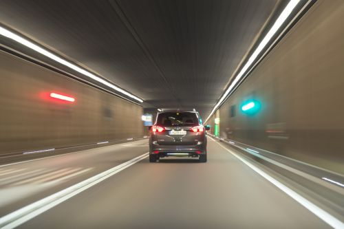 car driving tunnel
