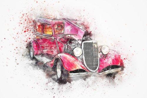 car  red  oldtimer