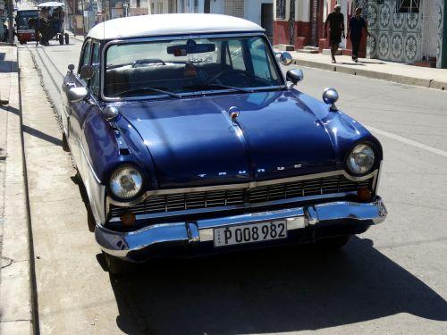 car retro blue