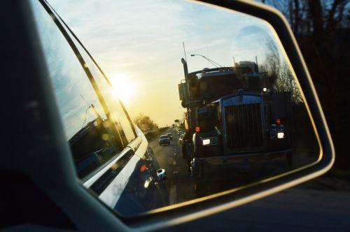 car mirror truck