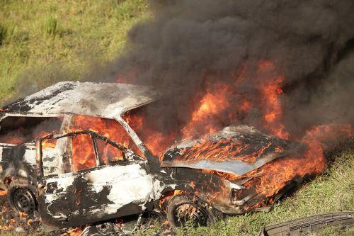 car burning wreck