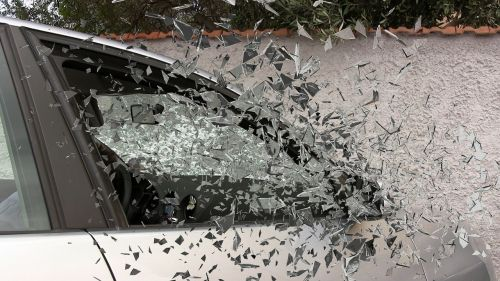 car accident broken glass splatter