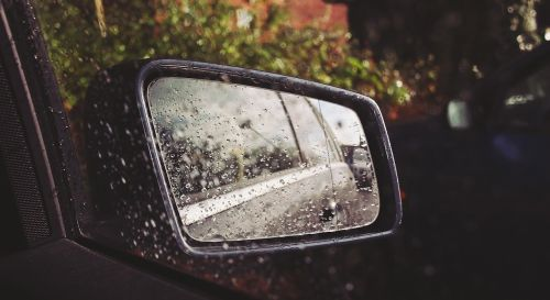 car mirror raining rain