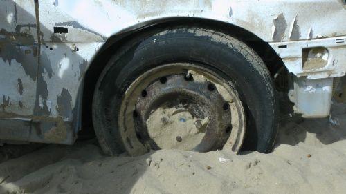 Car Wheel Stuck  In Sand