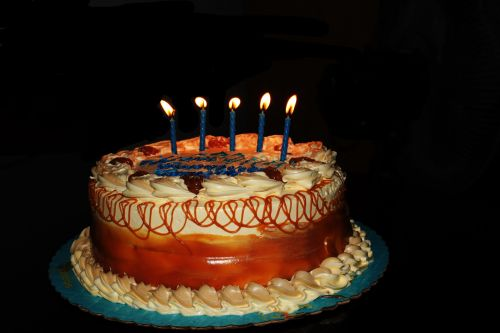 Caramel Cake With Candle Lights