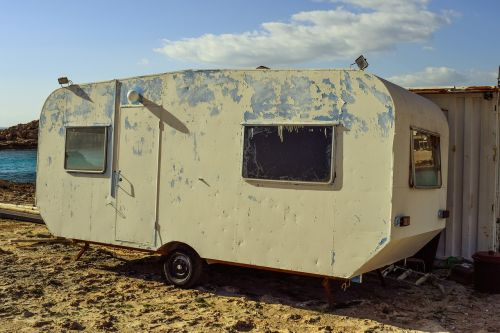 caravan beach retro