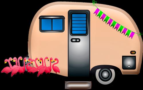 caravan  travel trailer  flamingos