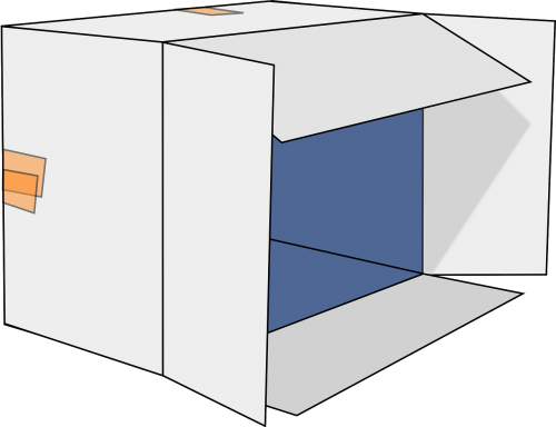 cardboard box open box