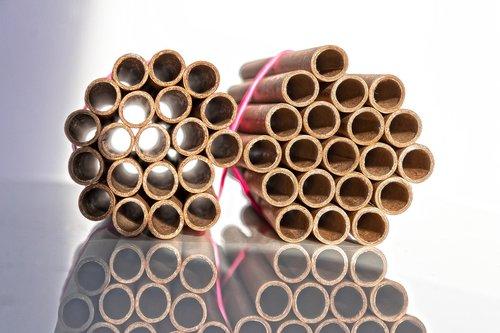 cardboard tubes  bundled  rubber