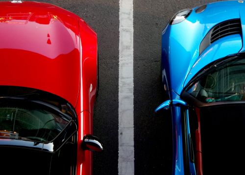 cars blue red