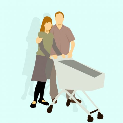 cart couple shopping