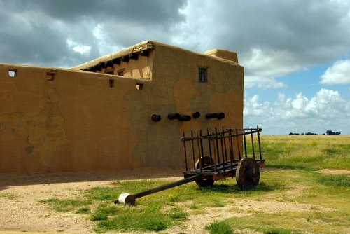 cart at bent's old fort  fort  trading post