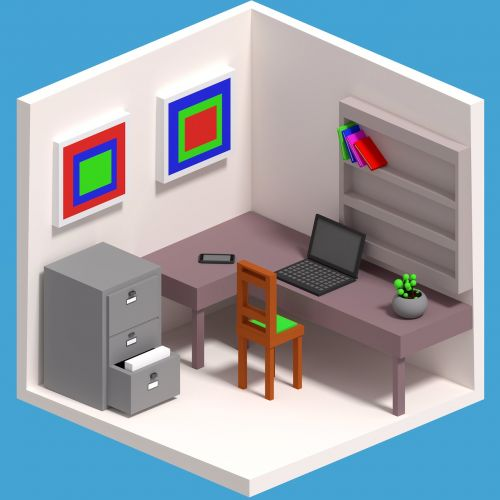 cartoon work isometric