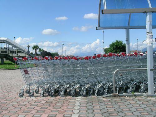 carts shopping trolleys supermarket