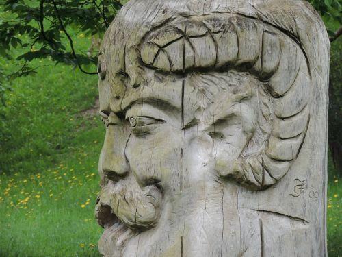 carved head wood bearded