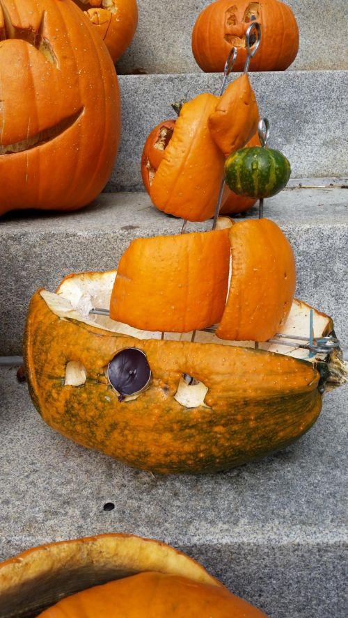 Carved Pumpkin Ship