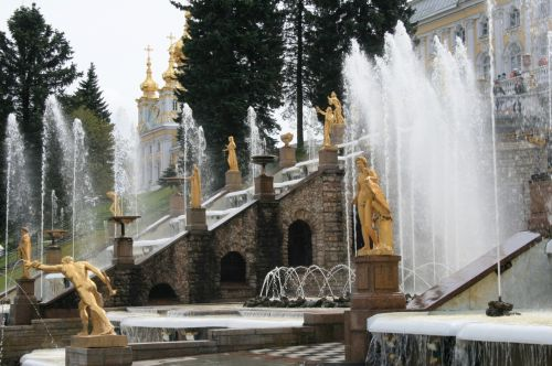 Cascading Staircase And Fountains